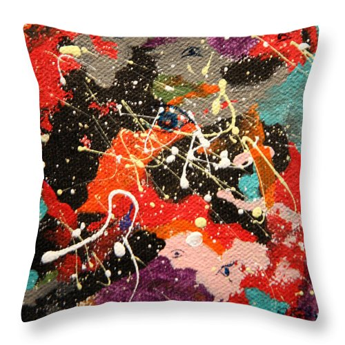 Abstract Throw Pillow featuring the mixed media Through The Eyes Of The Universe by J R Seymour