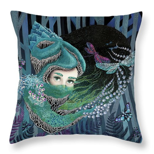 Forest Throw Pillow featuring the painting Through The Eyes by Ruta Dumalakaite