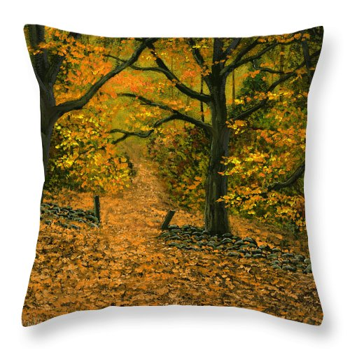 Landscape Throw Pillow featuring the painting Through The Fallen Leaves by Frank Wilson