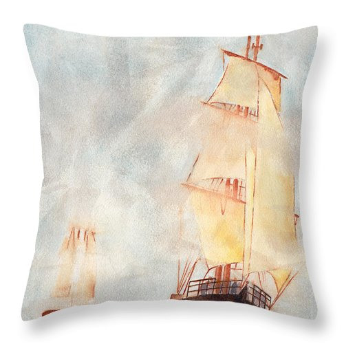 Ship Throw Pillow featuring the painting Through The Fog by Ken Powers
