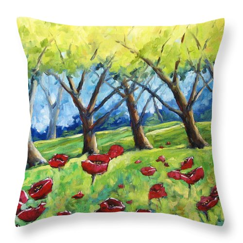 Landscape Throw Pillow featuring the painting Through The Meadows by Richard T Pranke