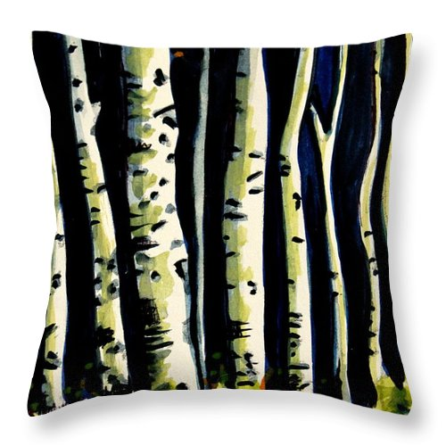 Trees Throw Pillow featuring the painting Through The Midnight Birch Trees by Elizabeth Robinette Tyndall