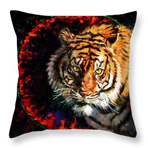 Tiger Throw Pillow featuring the painting Through The Ring Of Fire by John Lautermilch