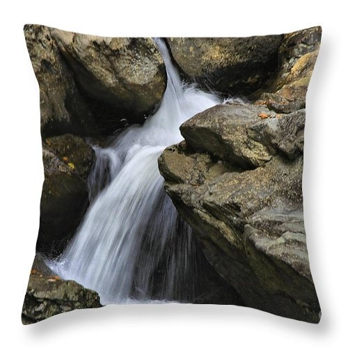 Water Throw Pillow featuring the photograph Through The Rocks by Deborah Benoit