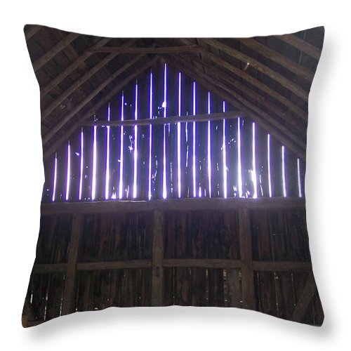 Old Barn Farm Wood Sunlight Country Throw Pillow featuring the photograph Through The Slats II by Anna Villarreal Garbis
