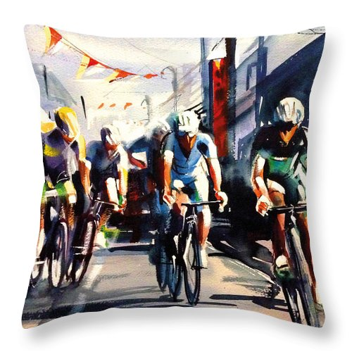 Tour Throw Pillow featuring the painting Through The Town by Shirley Peters