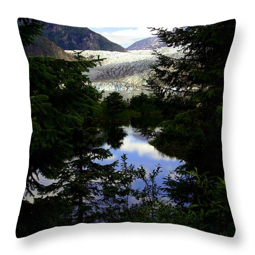 Mendenhall Glacier Throw Pillow featuring the photograph Through The Trees by Valerie Fuqua