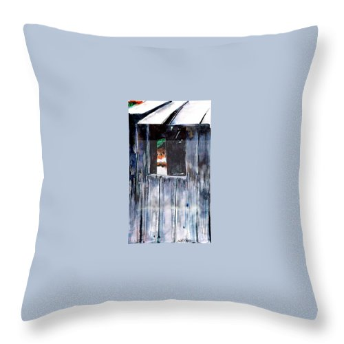 An Old Mysterious Barn With Deep Dark Shadows And Secrets. Rustic And Moody. Throw Pillow featuring the drawing Thru The Barn Window by Seth Weaver