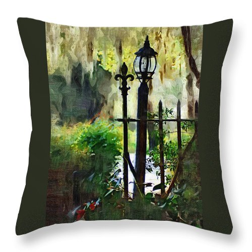 Gate Throw Pillow featuring the digital art Thru The Gate by Donna Bentley
