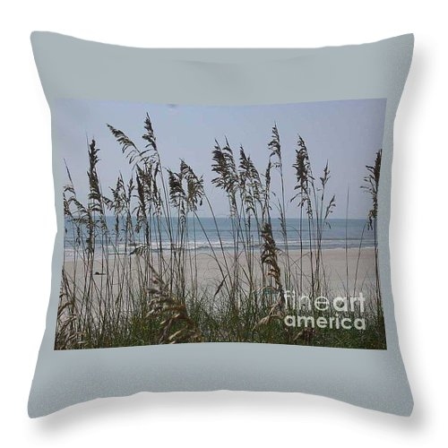 Florida Beach Near St. Augustine Throw Pillow featuring the photograph Thru The Sea Oats by Barb Montanye Meseroll