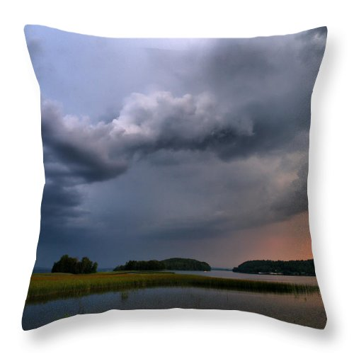 Lehtokukka Throw Pillow featuring the photograph Thunder At Siuro by Jouko Lehto