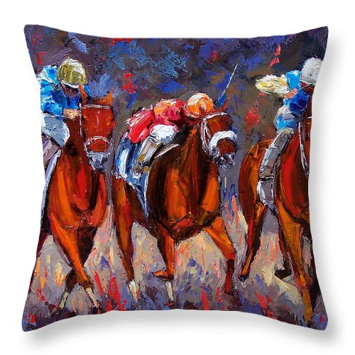 Horse Race Throw Pillow featuring the painting Thunder by Debra Hurd