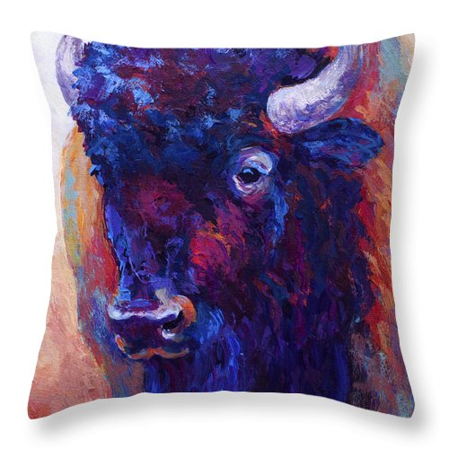 Bison Throw Pillow featuring the painting Thunder Horse by Marion Rose