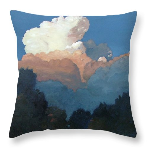 Cloud Throw Pillow featuring the painting Thundercap Rising In Santa Fe by Gary Coleman