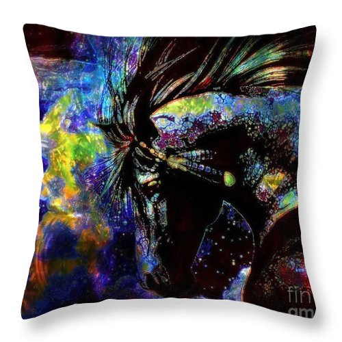 Horse Throw Pillow featuring the painting Thundering Hooves by Wbk