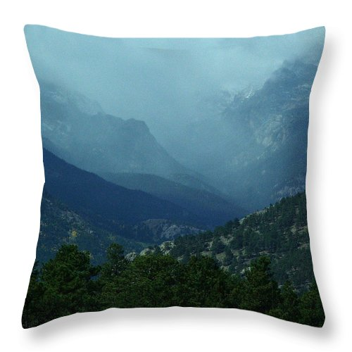 Colorado Throw Pillow featuring the photograph Thunderstorm Up Fall River Road by Bob W Brown
