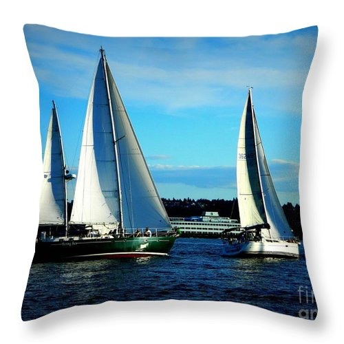 Sailboats Throw Pillow featuring the photograph Thursday Night Races by Anne McDonald