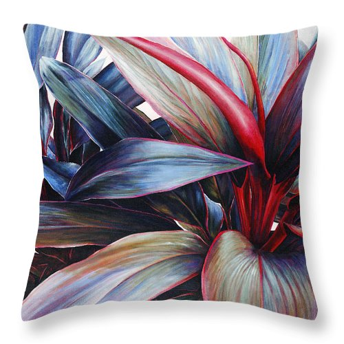 Acrylic Throw Pillow featuring the painting Ti In Blue by Sandra Blazel - Printscapes