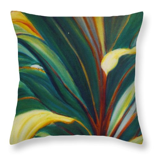 Foliage Throw Pillow featuring the painting Ti Leaves Too by Dina Holland