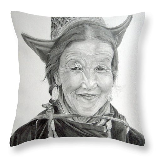 Figurative Art Throw Pillow featuring the drawing Tibetan Delight by Portraits By NC