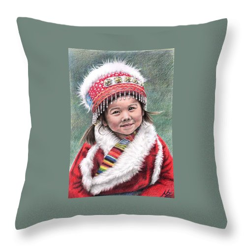 Girl Throw Pillow featuring the drawing Tibetan Girl by Nicole Zeug