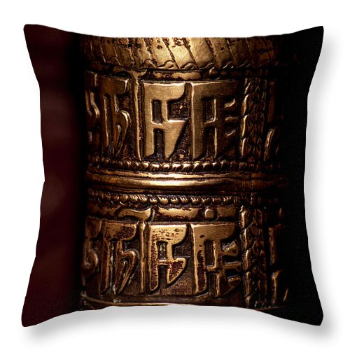 Prayer Wheel Throw Pillow featuring the photograph Tibetan Prayer Wheel by Patrick Klauss