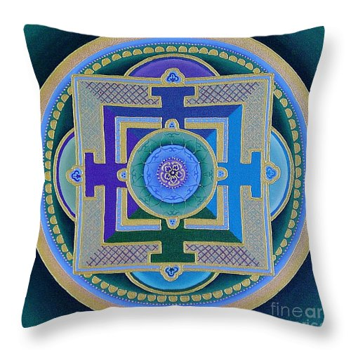 Mandala Throw Pillow featuring the painting Tibetan Rose by Charlotte Backman