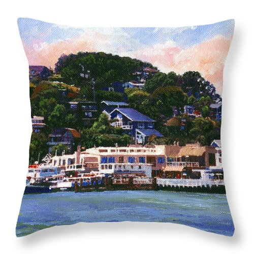 Landscape Throw Pillow featuring the painting Tiburon California Waterfront by Frank Wilson