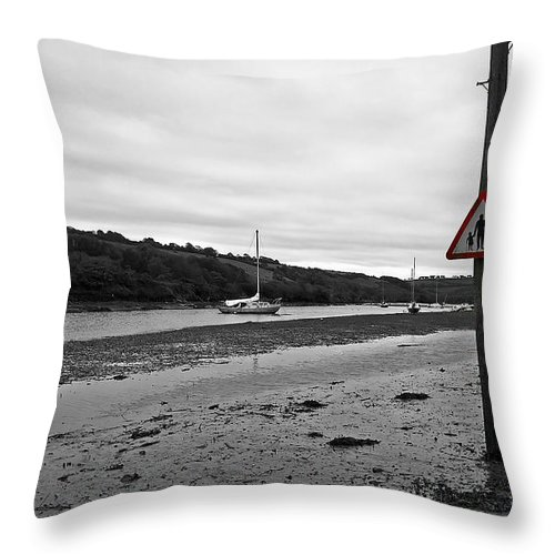 Sign Throw Pillow featuring the photograph Tidal Road by Sebastien Coell