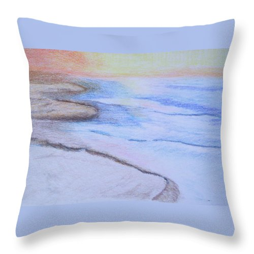 Landscape Throw Pillow featuring the drawing Tide Is Out by Suzanne Udell Levinger
