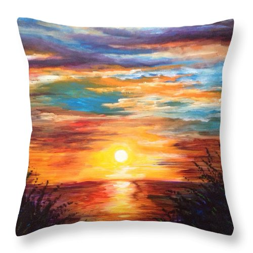 Marsh Throw Pillow featuring the painting Tide Marsh Sunset by Karen Ferrand Carroll
