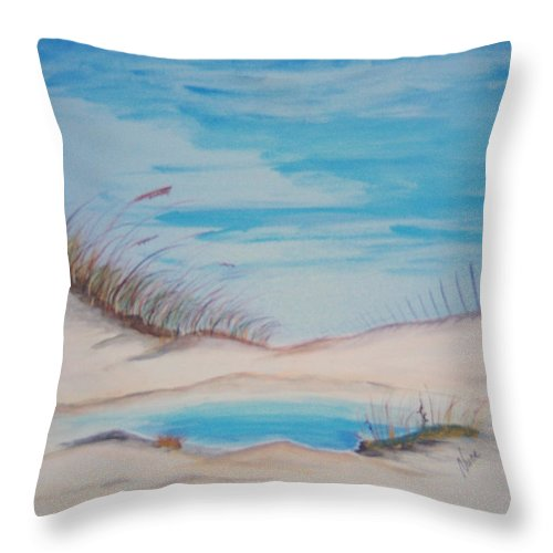 Sand Throw Pillow featuring the painting Tide Pool by Nancy Nuce
