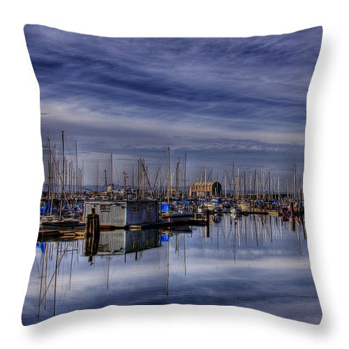 Boats Throw Pillow featuring the photograph Tideflats Marina by David Patterson