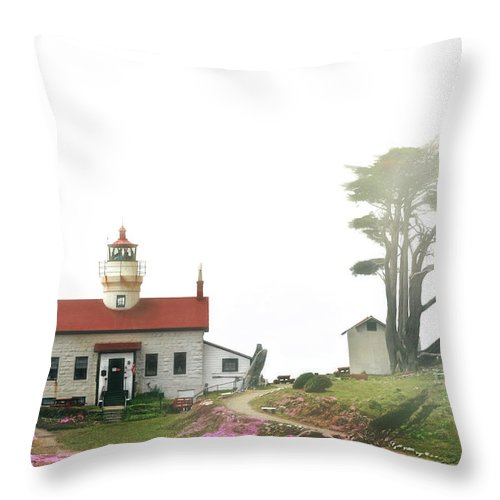 Battery Point Lighthouse Throw Pillow featuring the photograph Tides Of Battery Point Lighthouse - Northern Ca by Christine Till