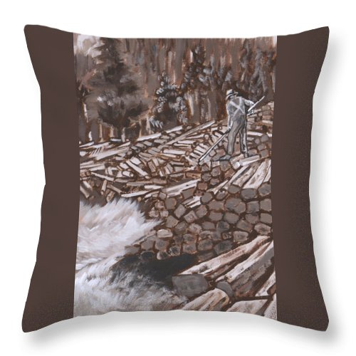 Western Throw Pillow featuring the painting Tie Hack Historical Vignette From River Mural by Dawn Senior-Trask