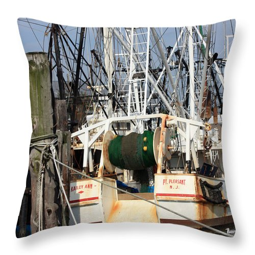 Fishing Boat Throw Pillow featuring the photograph Tied Up by Mary Haber