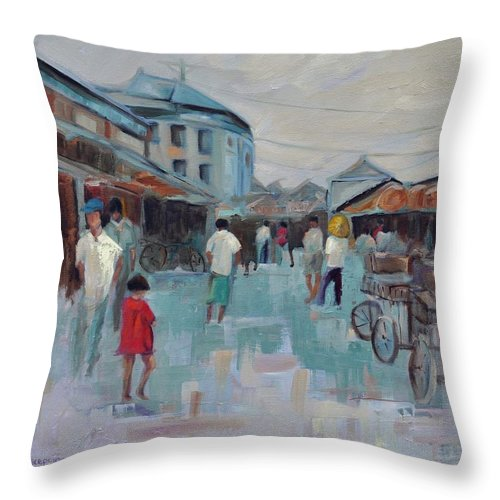 Taipei Villages Throw Pillow featuring the painting Tien Mou Village Taipei by Ginger Concepcion
