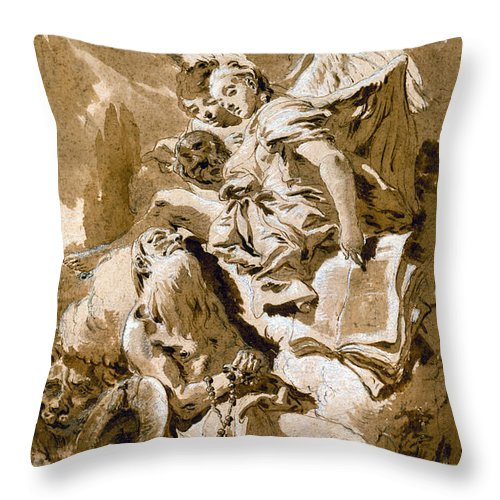 1730s Throw Pillow featuring the painting Tiepolo: Saint Jerome by Granger