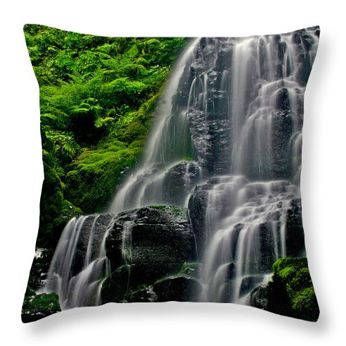 Waterfall Throw Pillow featuring the photograph Tiered Falls by Scott Mahon
