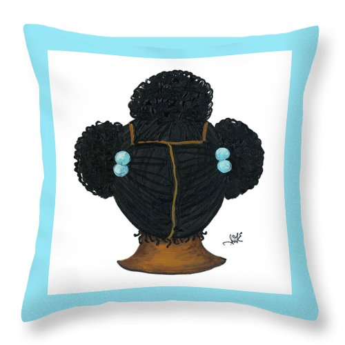 Children Art Throw Pillow featuring the painting Tiffany by Sonja Griffin Evans