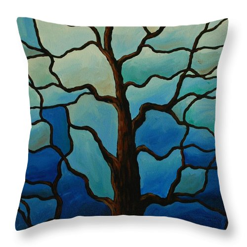 Stained Glass Throw Pillow featuring the painting Tiffany Tree by Emily Page