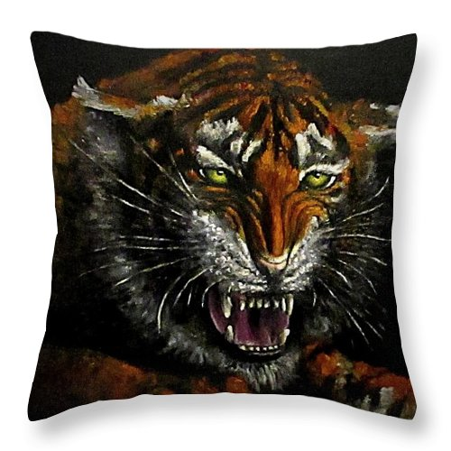 Animal Throw Pillow featuring the painting Tiger-1 Original Oil Painting by Natalja Picugina
