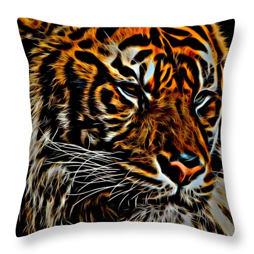 Tiger Throw Pillow featuring the photograph Tiger by David Pine