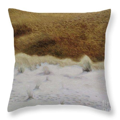 Nida Throw Pillow featuring the painting Tiger Dune by Raimonda Jatkeviciute-Kasparaviciene