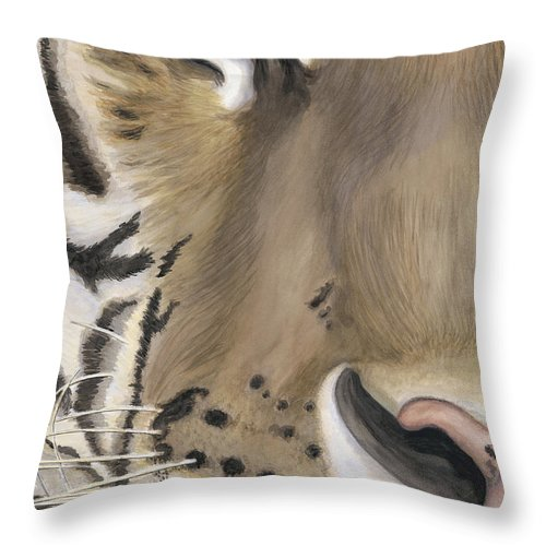 Tiger Throw Pillow featuring the painting Tiger Face by Patty Vicknair