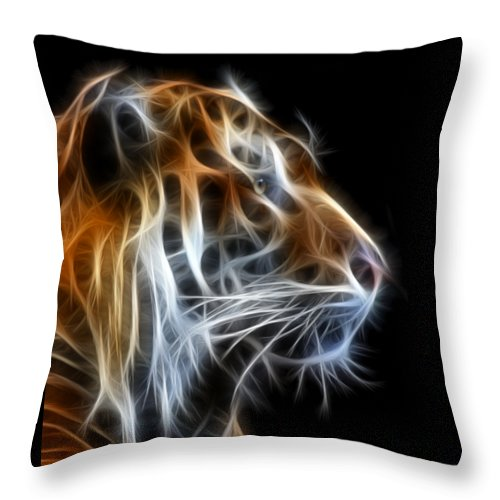 Tiger Throw Pillow featuring the photograph Tiger Fractal 2 by Shane Bechler