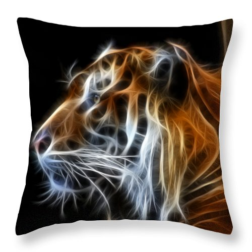 Tiger Throw Pillow featuring the photograph Tiger Fractal by Shane Bechler