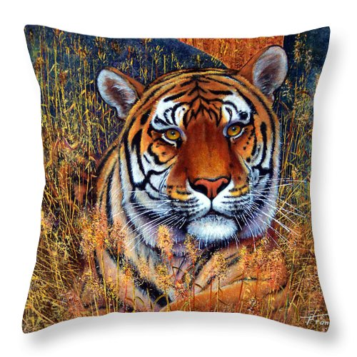Tiger Throw Pillow featuring the painting Tiger by Frank Wilson