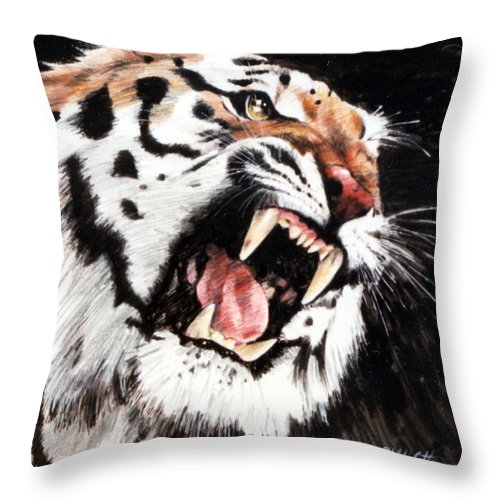 Tiger Roaring Throw Pillow featuring the painting Tiger by John Lautermilch
