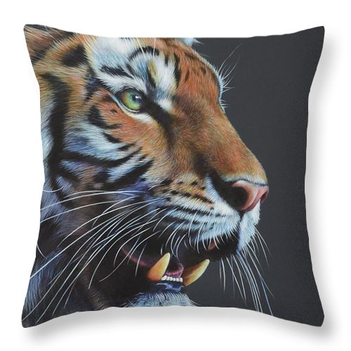 Tiger Throw Pillow featuring the painting Tiger by Karl Hamilton-Cox